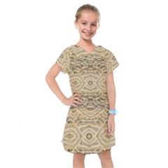 Ecru And Brown Intricate Pattern Kids  Drop Waist Dress