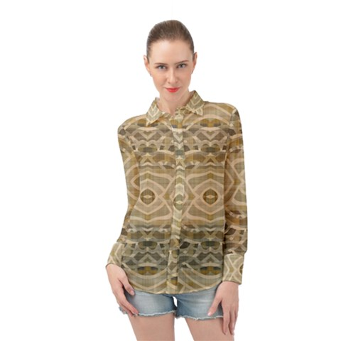 Ecru And Brown Intricate Pattern Long Sleeve Chiffon Shirt by SpinnyChairDesigns