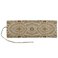 Ecru And Brown Intricate Pattern Roll Up Canvas Pencil Holder (m)