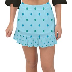 Blue Teal Green Polka Dots Fishtail Mini Chiffon Skirt by SpinnyChairDesigns