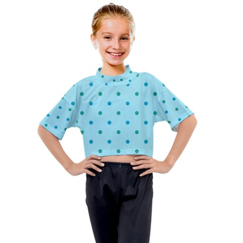 Blue Teal Green Polka Dots Kids Mock Neck Tee by SpinnyChairDesigns
