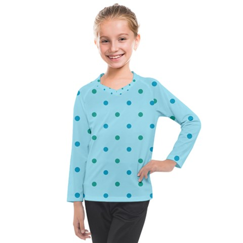 Blue Teal Green Polka Dots Kids  Long Mesh Tee by SpinnyChairDesigns