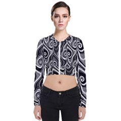 Abstract Black And White Swirls Spirals Long Sleeve Zip Up Bomber Jacket by SpinnyChairDesigns