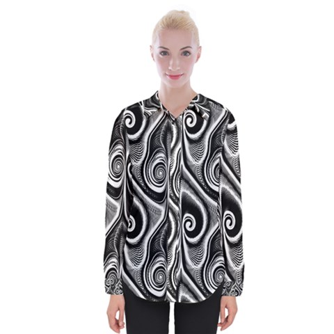 Abstract Black And White Swirls Spirals Womens Long Sleeve Shirt by SpinnyChairDesigns