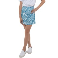 Abstract Blue White Spirals Swirls Kids  Tennis Skirt by SpinnyChairDesigns