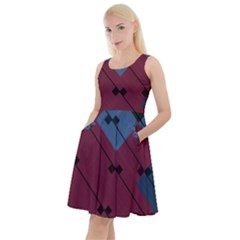Burgundy Black Blue Abstract Check Pattern Knee Length Skater Dress With Pockets