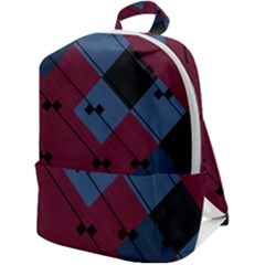 Burgundy Black Blue Abstract Check Pattern Zip Up Backpack