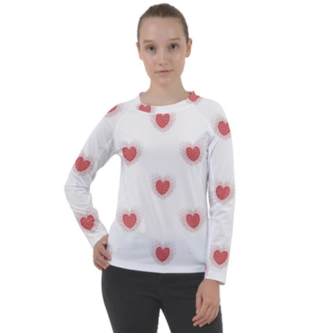 Red Polka Dot Hearts On White Women s Long Sleeve Raglan Tee by SpinnyChairDesigns