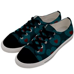 Teal And Red Hearts Men s Low Top Canvas Sneakers by SpinnyChairDesigns