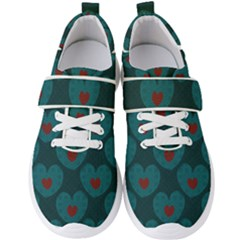 Teal And Red Hearts Men s Velcro Strap Shoes by SpinnyChairDesigns