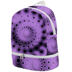 Abstract Black Purple Polka Dot Swirl Zip Bottom Backpack