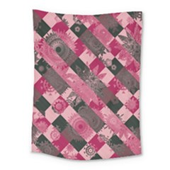 Abstract Pink Grey Stripes Medium Tapestry by SpinnyChairDesigns