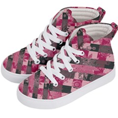Abstract Pink Grey Stripes Kids  Hi-top Skate Sneakers by SpinnyChairDesigns