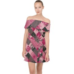 Abstract Pink Grey Stripes Off Shoulder Chiffon Dress by SpinnyChairDesigns