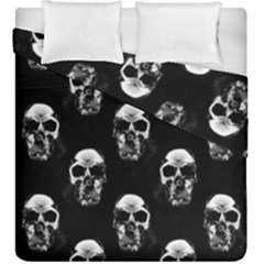 Black And White Skulls Duvet Cover Double Side (king Size) by SpinnyChairDesigns