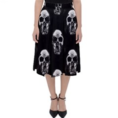 Black And White Skulls Classic Midi Skirt by SpinnyChairDesigns