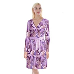 Plum Purple Abstract Floral Pattern Long Sleeve Velvet Front Wrap Dress