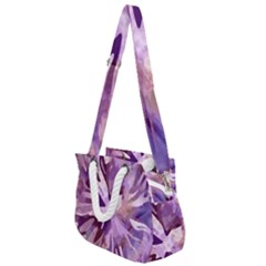 Plum Purple Abstract Floral Pattern Rope Handles Shoulder Strap Bag by SpinnyChairDesigns