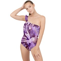 Plum Purple Abstract Floral Pattern Frilly One Shoulder Swimsuit