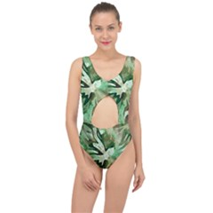 Green Brown Abstract Floral Pattern Center Cut Out Swimsuit by SpinnyChairDesigns