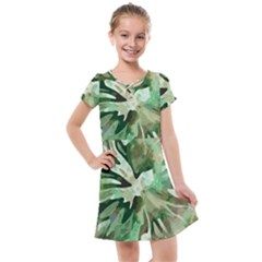 Green Brown Abstract Floral Pattern Kids  Cross Web Dress