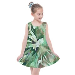 Green Brown Abstract Floral Pattern Kids  Summer Dress