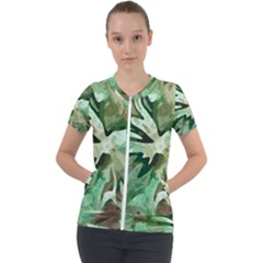 Green Brown Abstract Floral Pattern Short Sleeve Zip Up Jacket
