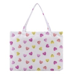 Cute Colorful Smiling Hearts Pattern Medium Tote Bag by SpinnyChairDesigns