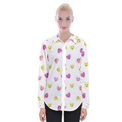 Cute Colorful Smiling Hearts Pattern Womens Long Sleeve Shirt