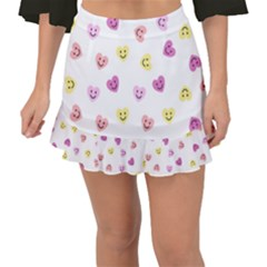 Cute Colorful Smiling Hearts Pattern Fishtail Mini Chiffon Skirt by SpinnyChairDesigns