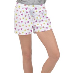 Cute Colorful Smiling Hearts Pattern Velour Lounge Shorts
