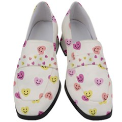 Cute Colorful Smiling Hearts Pattern Women s Chunky Heel Loafers by SpinnyChairDesigns