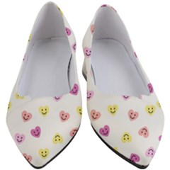 Cute Colorful Smiling Hearts Pattern Women s Block Heels  by SpinnyChairDesigns
