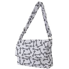 Abstract Black And White Minimalist Full Print Messenger Bag (l) by SpinnyChairDesigns