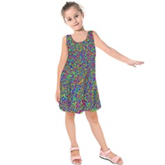 Abstract Rainbow Marble Camouflage Kids  Sleeveless Dress