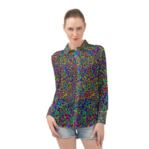Abstract Rainbow Marble Camouflage Long Sleeve Chiffon Shirt by SpinnyChairDesigns