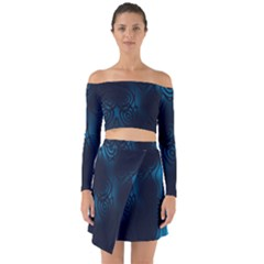 Dark Prussian Blue Abstract Pattern Off Shoulder Top With Skirt Set