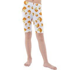 Orange Goldfish Pattern Kids  Mid Length Swim Shorts