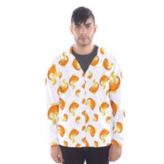 Orange Goldfish Pattern Men s Hooded Windbreaker by SpinnyChairDesigns