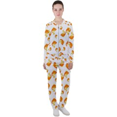 Orange Goldfish Pattern Casual Jacket And Pants Set