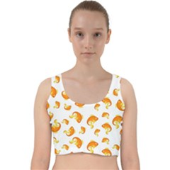 Orange Goldfish Pattern Velvet Racer Back Crop Top