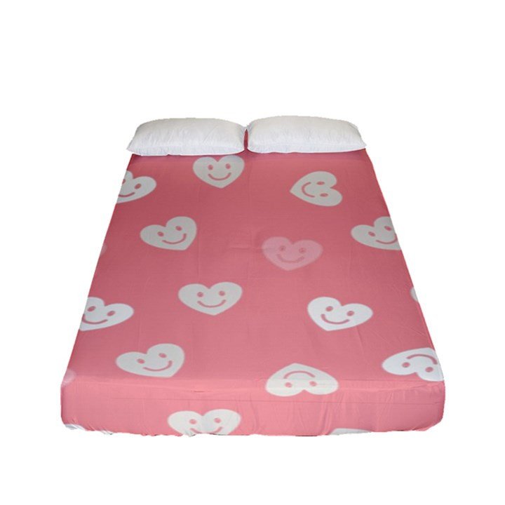 Cute Pink and White Hearts Fitted Sheet (Full/ Double Size)