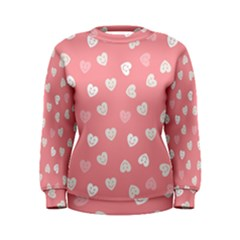Cute Pink And White Hearts Women s Sweatshirt by SpinnyChairDesigns