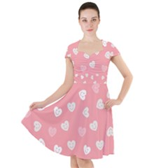 Cute Pink And White Hearts Cap Sleeve Midi Dress
