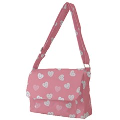 Cute Pink And White Hearts Full Print Messenger Bag (s)