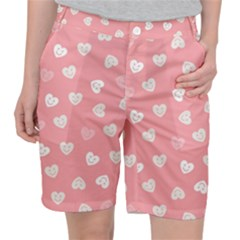 Cute Pink And White Hearts Pocket Shorts