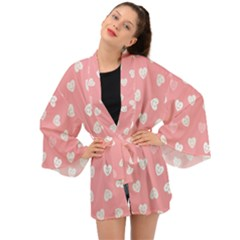 Cute Pink And White Hearts Long Sleeve Kimono