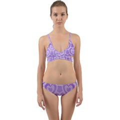 Purple Hearts Pattern Wrap Around Bikini Set by SpinnyChairDesigns