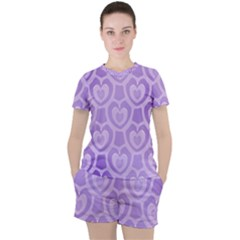 Purple Hearts Pattern Women s Tee And Shorts Set