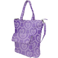 Purple Hearts Pattern Shoulder Tote Bag by SpinnyChairDesigns